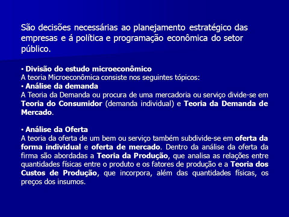 São decisões necessárias ao planejamento estratégico das empresas e á política e programação econômica do setor público. Divisão do estudo microeconôm