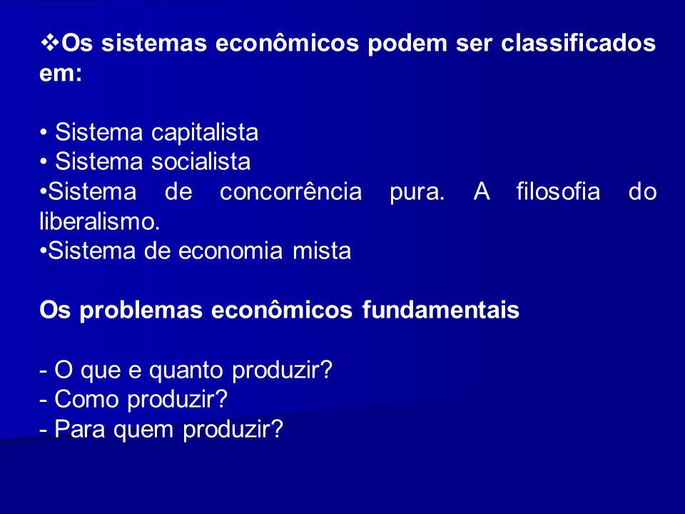 Os sistemas econômicos podem ser classificados em: Sistema capitalista Sistema socialista Sistema de concorrência pura. A filosofia do liberalismo. Si