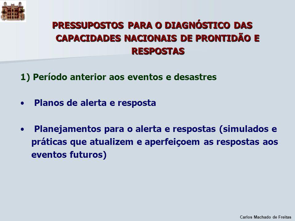 Carlos Machado de Freitas PRESSUPOSTOS PARA O DIAGNÓSTICO DAS CAPACIDADES NACIONAIS DE PRONTIDÃO E RESPOSTAS 1) Período anterior aos eventos e desastr