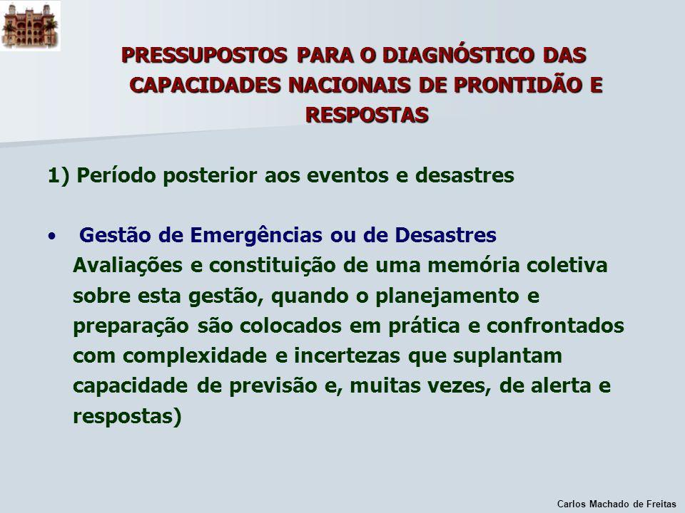 Carlos Machado de Freitas PRESSUPOSTOS PARA O DIAGNÓSTICO DAS CAPACIDADES NACIONAIS DE PRONTIDÃO E RESPOSTAS 1) Período posterior aos eventos e desast