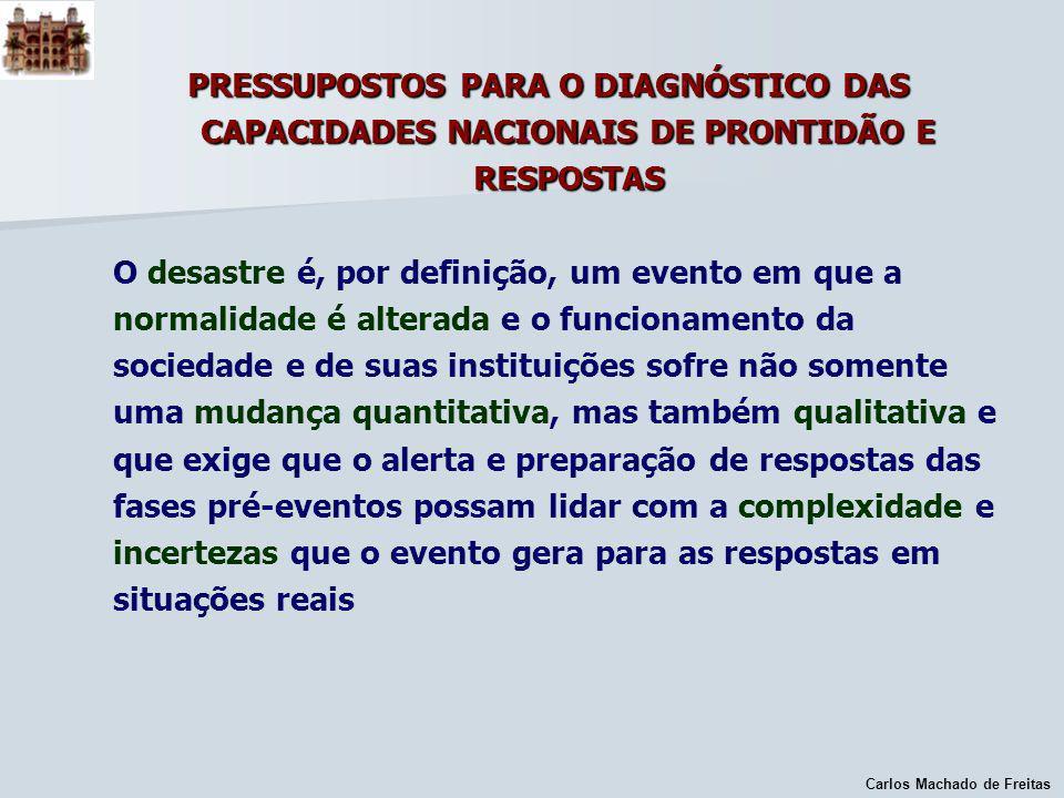 Carlos Machado de Freitas PRESSUPOSTOS PARA O DIAGNÓSTICO DAS CAPACIDADES NACIONAIS DE PRONTIDÃO E RESPOSTAS O desastre é, por definição, um evento em