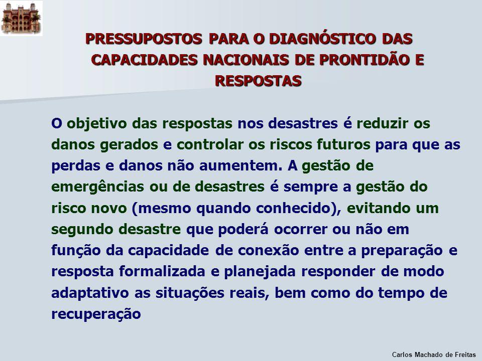 Carlos Machado de Freitas PRESSUPOSTOS PARA O DIAGNÓSTICO DAS CAPACIDADES NACIONAIS DE PRONTIDÃO E RESPOSTAS O objetivo das respostas nos desastres é