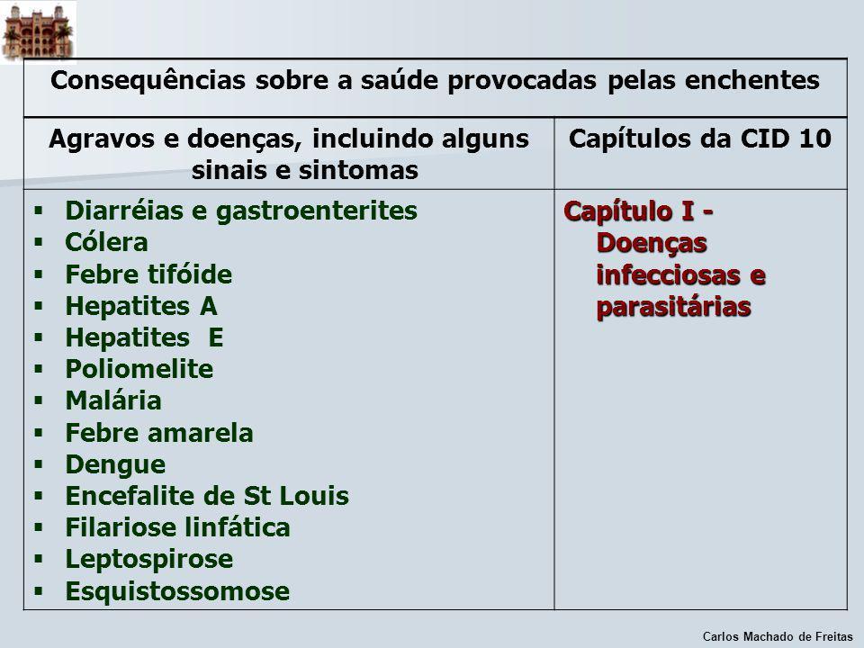 Carlos Machado de Freitas Consequências sobre a saúde provocadas pelas enchentes Agravos e doenças, incluindo alguns sinais e sintomas Capítulos da CI