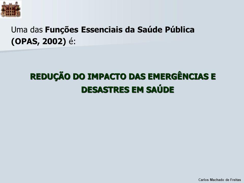 Carlos Machado de Freitas Uma das Funções Essenciais da Saúde Pública (OPAS, 2002) é: REDUÇÃO DO IMPACTO DAS EMERGÊNCIAS E DESASTRES EM SAÚDE