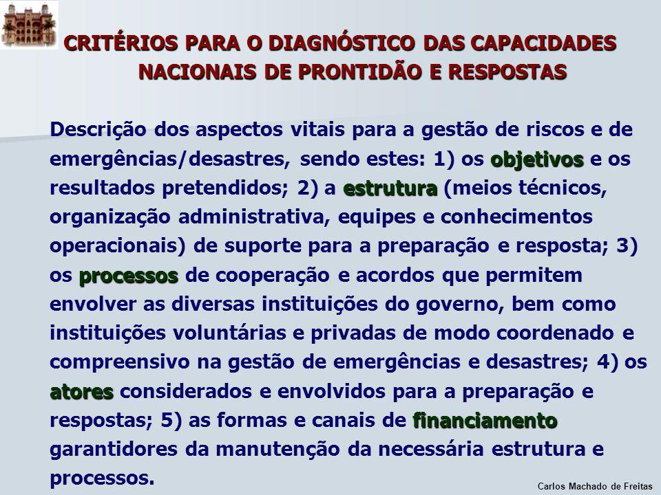 Carlos Machado de Freitas CRITÉRIOS PARA O DIAGNÓSTICO DAS CAPACIDADES NACIONAIS DE PRONTIDÃO E RESPOSTAS objetivos estrutura processos atores financi