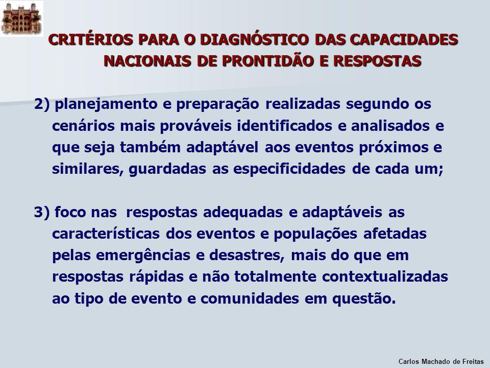 Carlos Machado de Freitas CRITÉRIOS PARA O DIAGNÓSTICO DAS CAPACIDADES NACIONAIS DE PRONTIDÃO E RESPOSTAS 2) planejamento e preparação realizadas segu