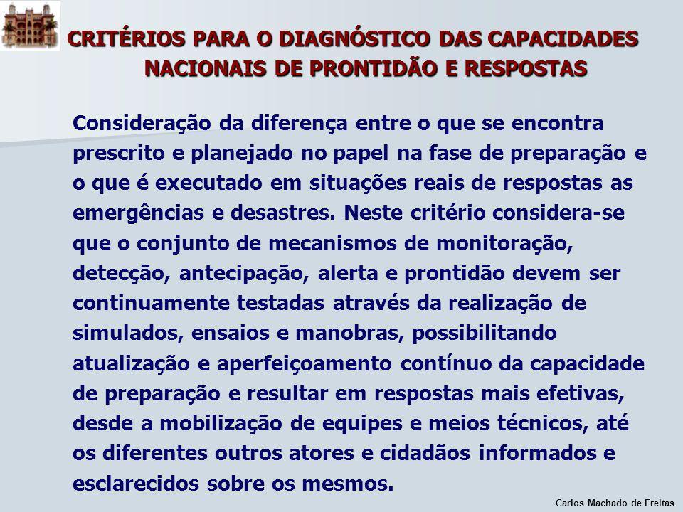 Carlos Machado de Freitas CRITÉRIOS PARA O DIAGNÓSTICO DAS CAPACIDADES NACIONAIS DE PRONTIDÃO E RESPOSTAS Consideração da diferença entre o que se enc
