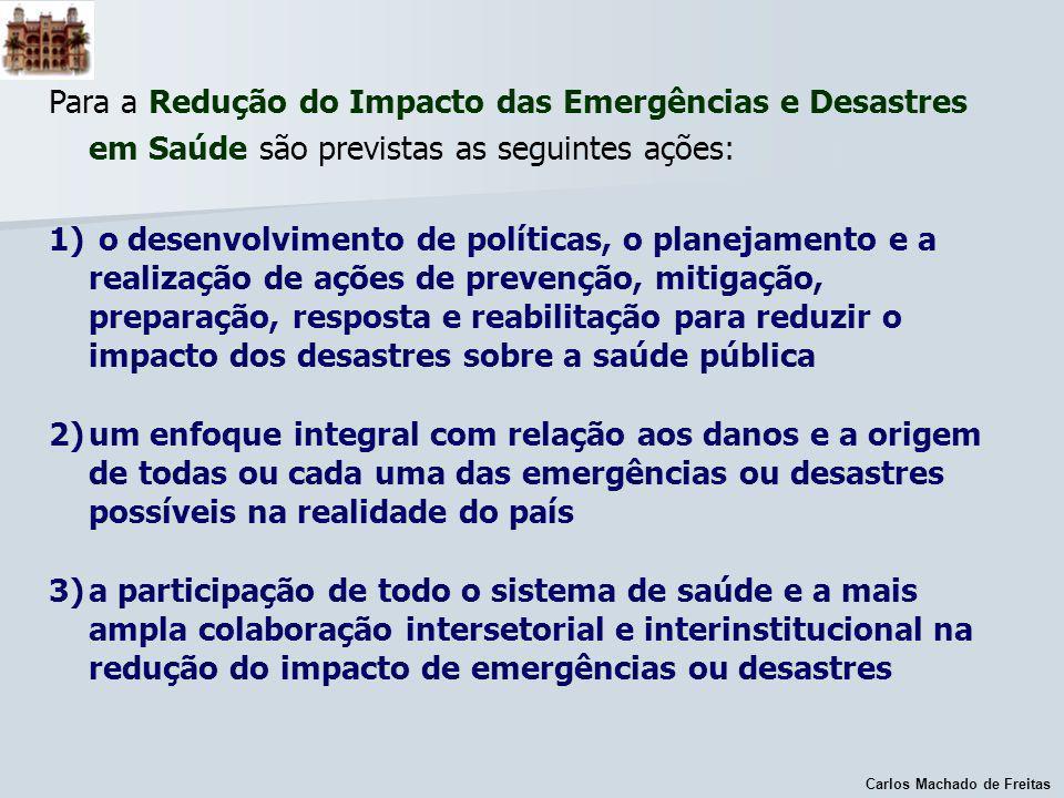Carlos Machado de Freitas PRESSUPOSTOS PARA O DIAGNÓSTICO DAS CAPACIDADES NACIONAIS DE PRONTIDÃO E RESPOSTAS Os efeitos sobre a saúde em função dos desastres se relaciona não só a capacidade de alerta e resposta imediata, mas também ao longo do tempo.
