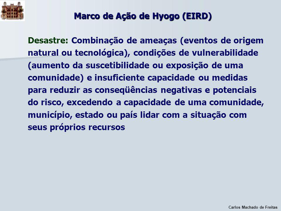 Carlos Machado de Freitas Marco de Ação de Hyogo (EIRD) Desastre: Combinação de ameaças (eventos de origem natural ou tecnológica), condições de vulne