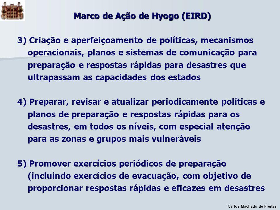 Carlos Machado de Freitas Marco de Ação de Hyogo (EIRD) 3) Criação e aperfeiçoamento de políticas, mecanismos operacionais, planos e sistemas de comun