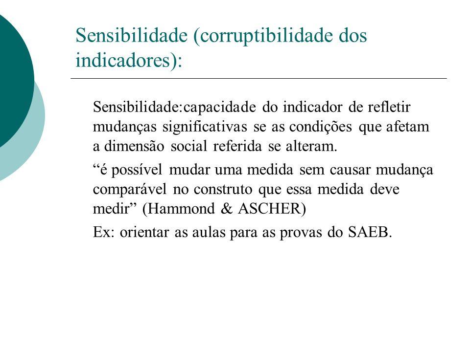 Sensibilidade (corruptibilidade dos indicadores): Sensibilidade:capacidade do indicador de refletir mudanças significativas se as condições que afetam