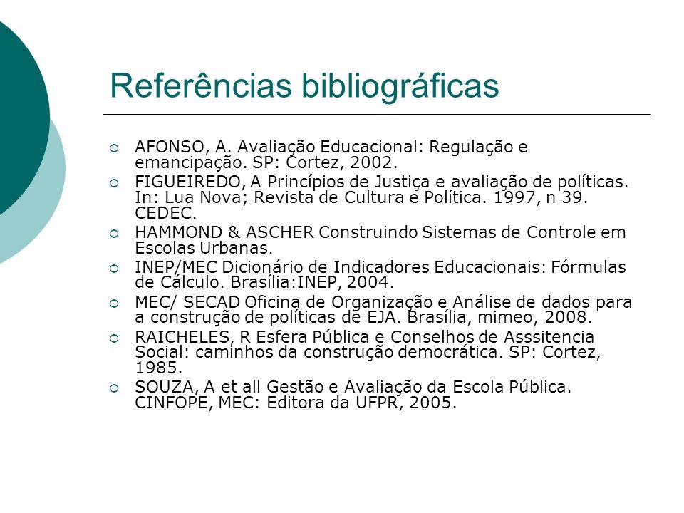 Referências bibliográficas AFONSO, A. Avaliação Educacional: Regulação e emancipação. SP: Cortez, 2002. FIGUEIREDO, A Princípios de Justiça e avaliaçã