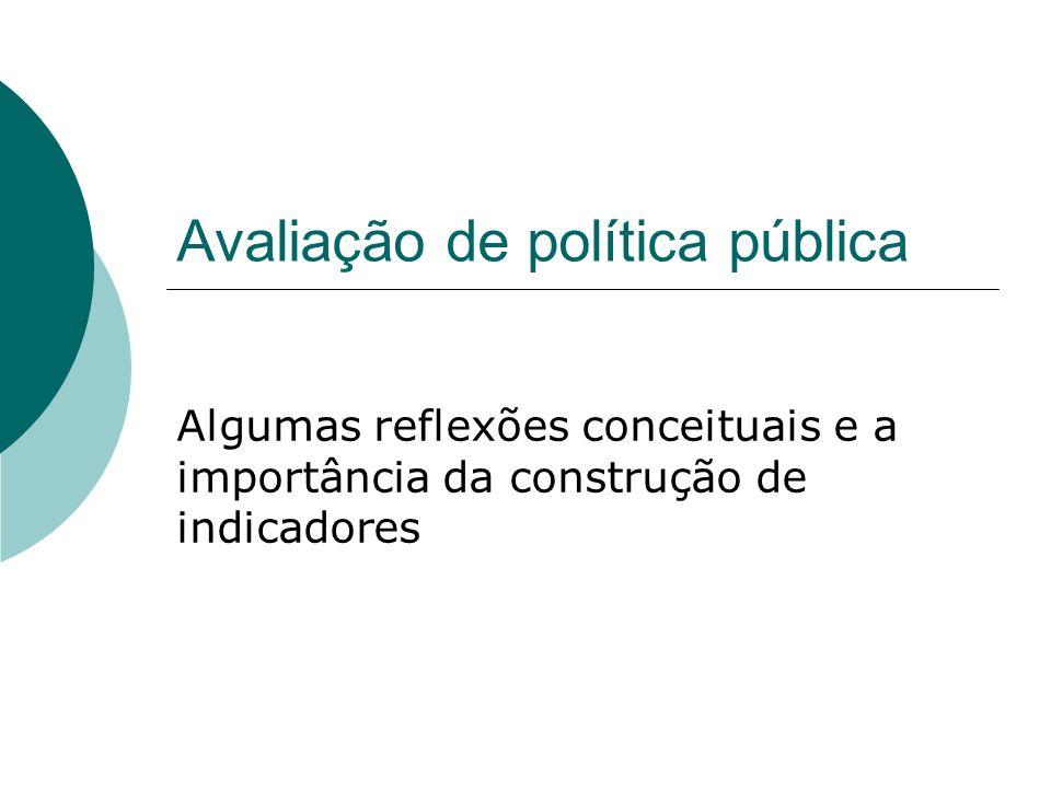 Avaliação de política pública Algumas reflexões conceituais e a importância da construção de indicadores