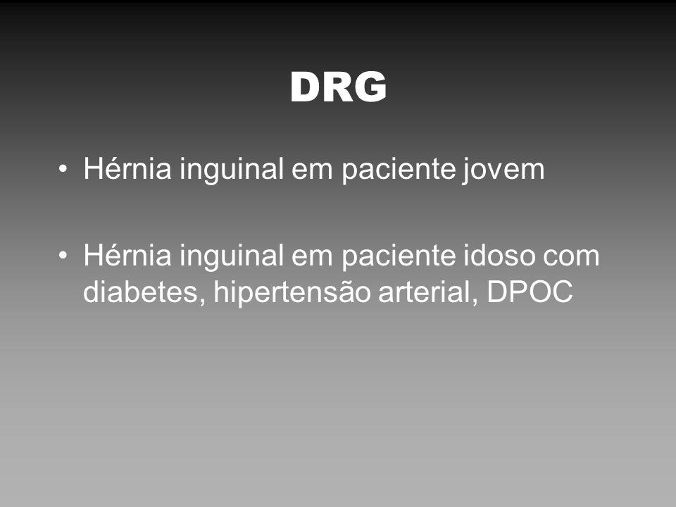 DRG Hérnia inguinal em paciente jovem Hérnia inguinal em paciente idoso com diabetes, hipertensão arterial, DPOC