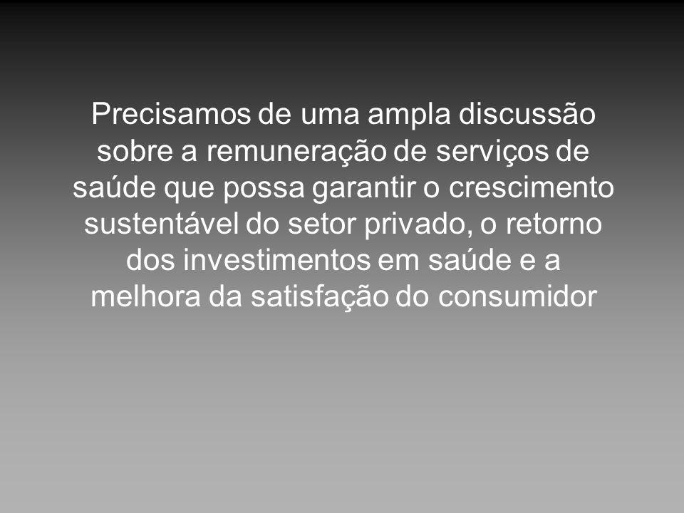 Precisamos de uma ampla discussão sobre a remuneração de serviços de saúde que possa garantir o crescimento sustentável do setor privado, o retorno do