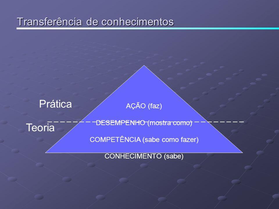 Transferência de conhecimentos AÇÃO (faz) DESEMPENHO (mostra como) COMPETÊNCIA (sabe como fazer) CONHECIMENTO (sabe) Prática Teoria