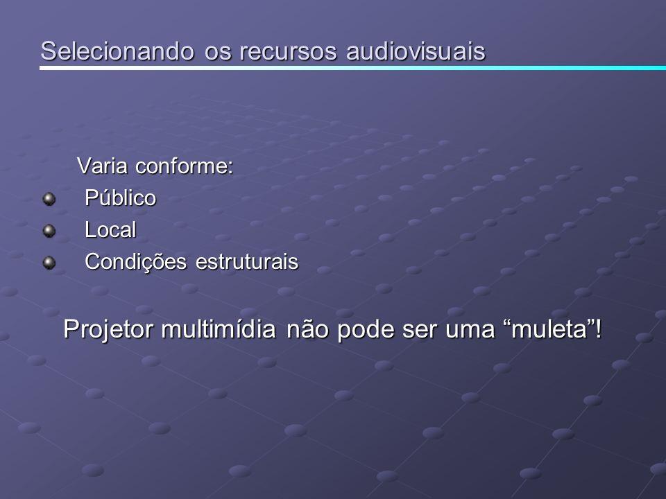 Selecionando os recursos audiovisuais Varia conforme: Varia conforme:PúblicoLocal Condições estruturais Projetor multimídia não pode ser uma muleta!