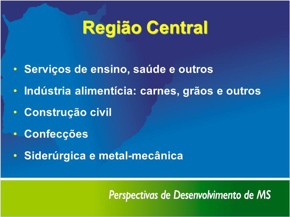 Região Central Serviços de ensino, saúde e outros Indústria alimentícia: carnes, grãos e outros Construção civil Confecções Siderúrgica e metal-mecâni
