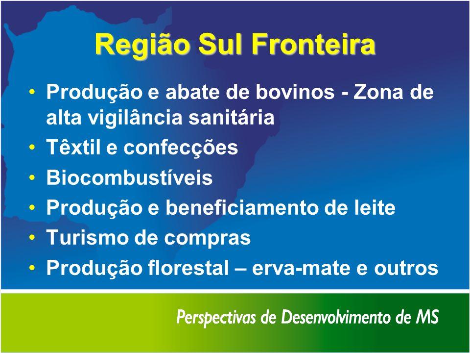 Região Sul Fronteira Produção e abate de bovinos - Zona de alta vigilância sanitária Têxtil e confecções Biocombustíveis Produção e beneficiamento de