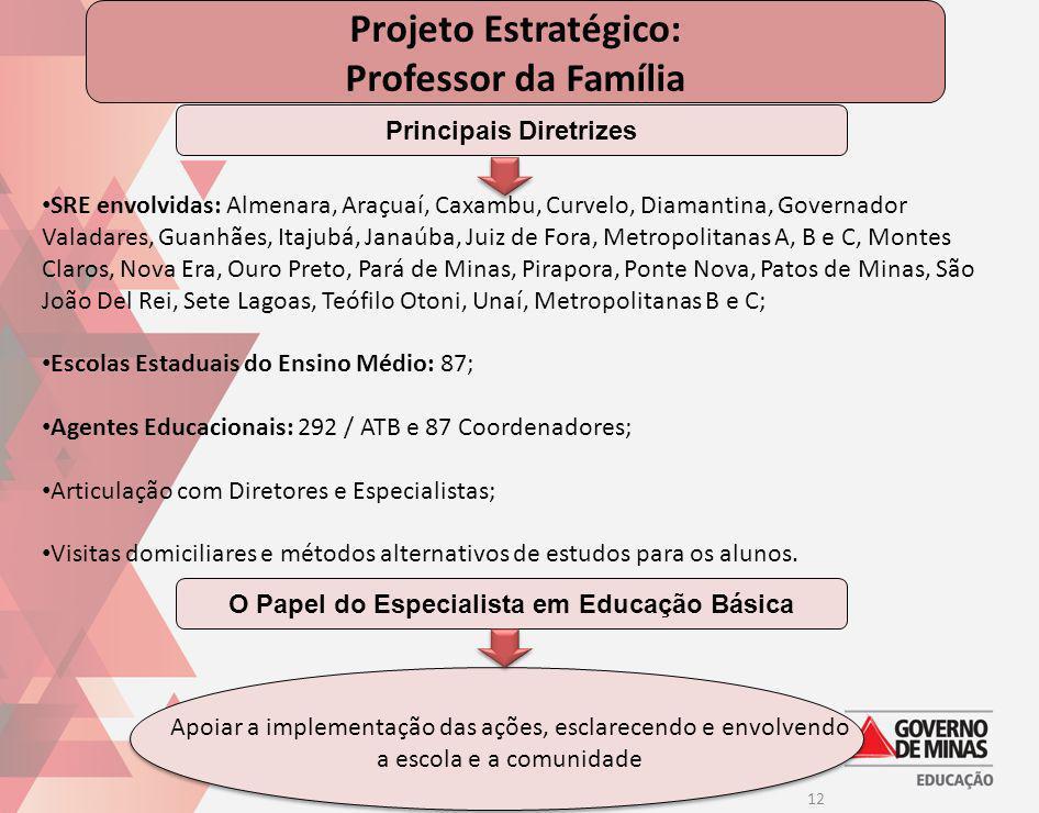 12 Projeto Estratégico: Professor da Família SRE envolvidas: Almenara, Araçuaí, Caxambu, Curvelo, Diamantina, Governador Valadares, Guanhães, Itajubá,