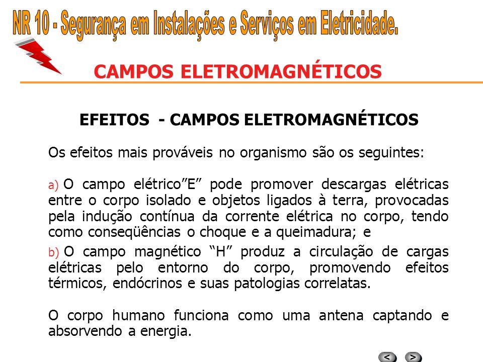 > > < < CAMPOS ELETROMAGNÉTICOS CLASSIFICAÇÃO - CAMPOS ELETROMAGNÉTICOS A unidade de medida do campo E é o volt por metro (V/m), e a unidade de medida