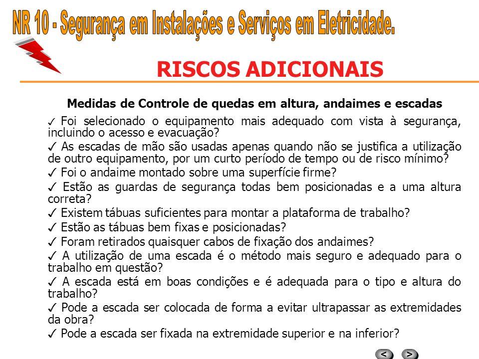 > > < < RISCOS ADICIONAIS ALTURA - QUEDAS Constitui-se numa das principais causas de acidentes, sendo característico de diversos ramos de atividade, m
