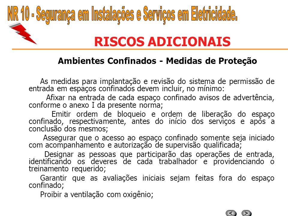 > > < < RISCOS ADICIONAIS Ambientes confinados Espaço confinado é qualquer área não projetada para ocupação humana que possua ventilação deficiente pa