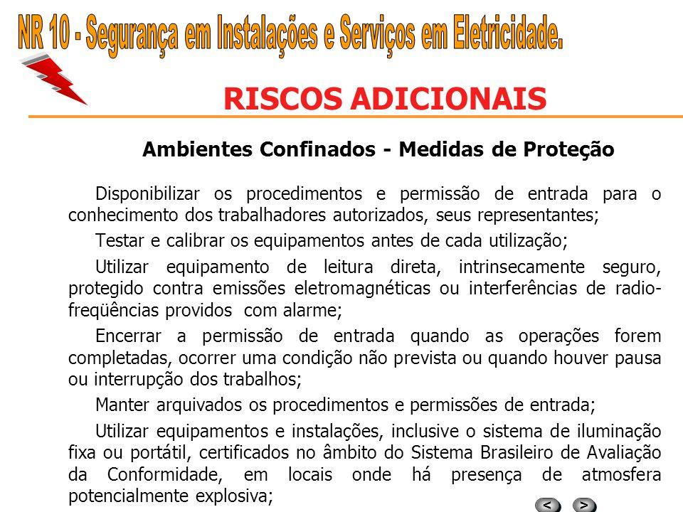 > > < < RISCOS ADICIONAIS Ambientes Confinados - Medidas de Proteção As medidas para implantação e revisão do sistema de permissão de entrada em espaç