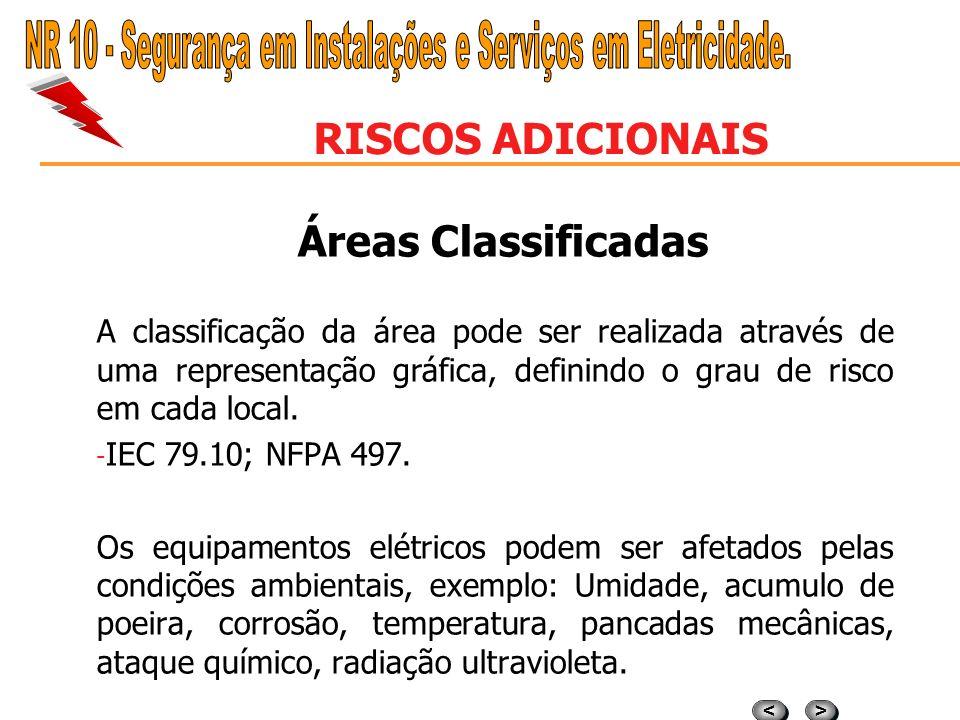 > > < < RISCOS ADICIONAIS Áreas Classificadas É uma área na qual a probabilidade da presença atmosférica explosiva é tal que exige precauções para a c