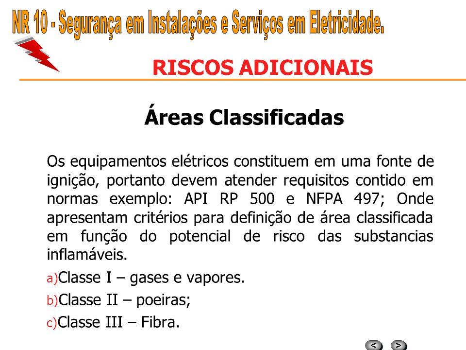 > > < < RISCOS ADICIONAIS Áreas Classificadas A classificação da área pode ser realizada através de uma representação gráfica, definindo o grau de ris
