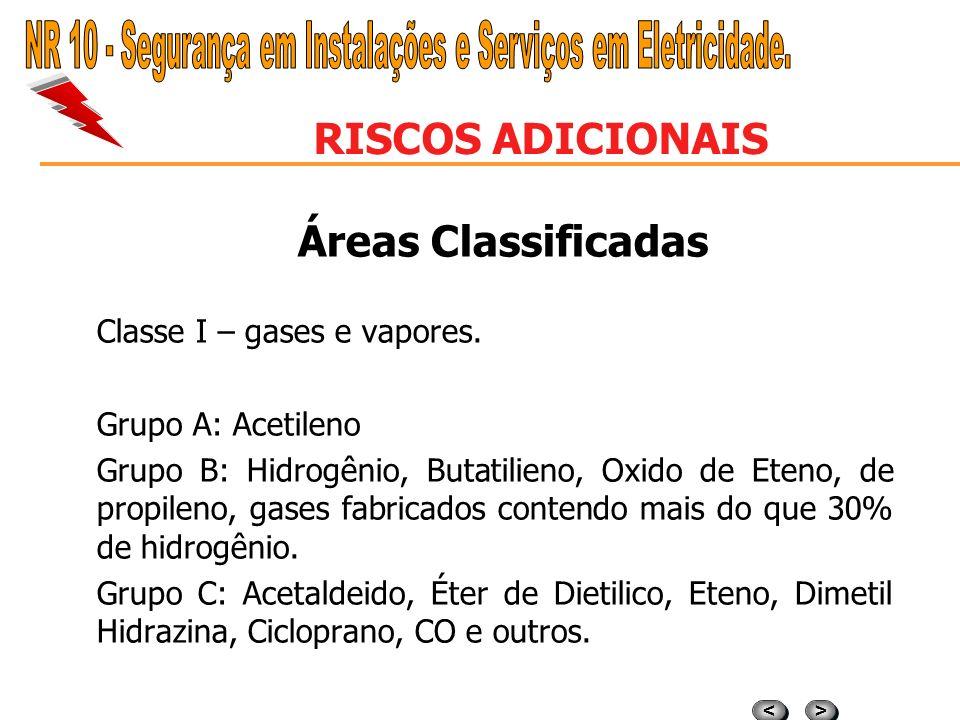 > > < < RISCOS ADICIONAIS Áreas Classificadas Os equipamentos elétricos constituem em uma fonte de ignição, portanto devem atender requisitos contido