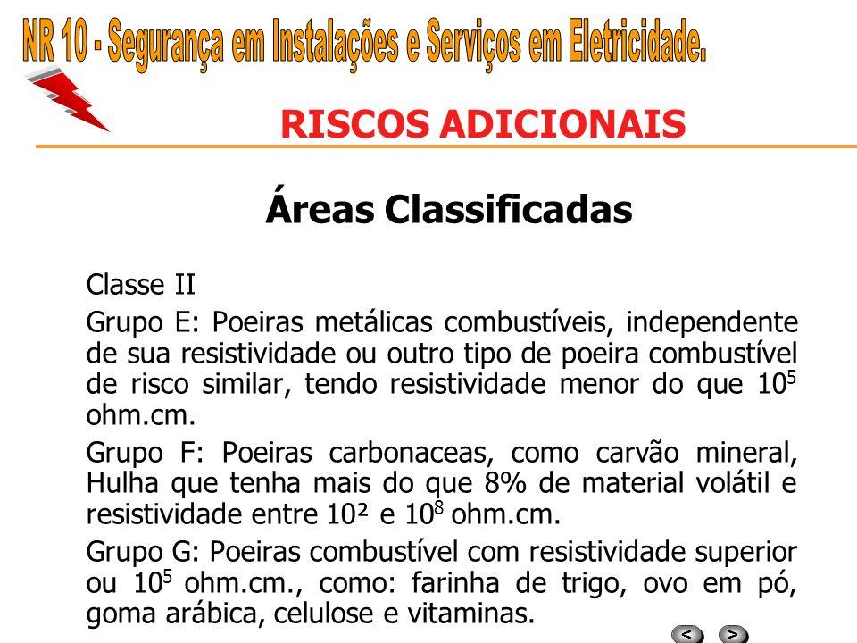 > > < < RISCOS ADICIONAIS Áreas Classificadas Classe I – gases e vapores. Grupo A: Acetileno Grupo B: Hidrogênio, Butatilieno, Oxido de Eteno, de prop