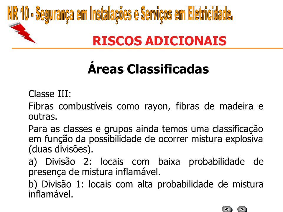 > > < < RISCOS ADICIONAIS Áreas Classificadas Classe II Grupo E: Poeiras metálicas combustíveis, independente de sua resistividade ou outro tipo de po