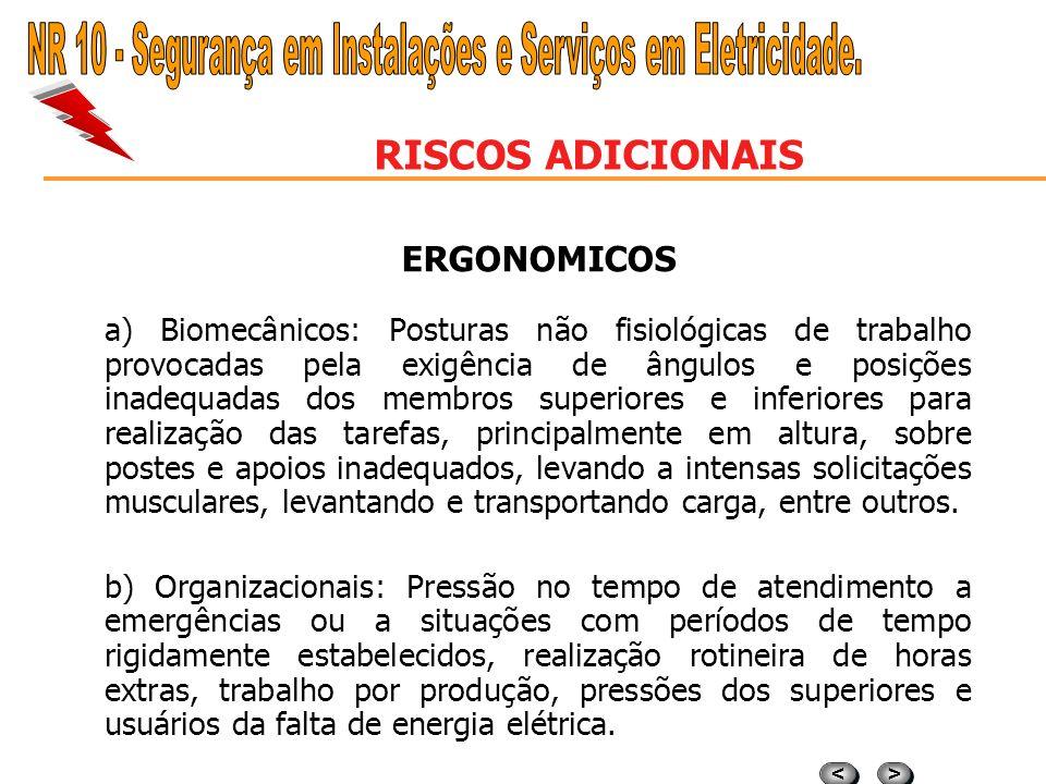 > > < < RISCOS ADICIONAIS ERGONOMICOS a) Biomecânicos: Posturas não fisiológicas de trabalho provocadas pela exigência de ângulos e posições inadequad