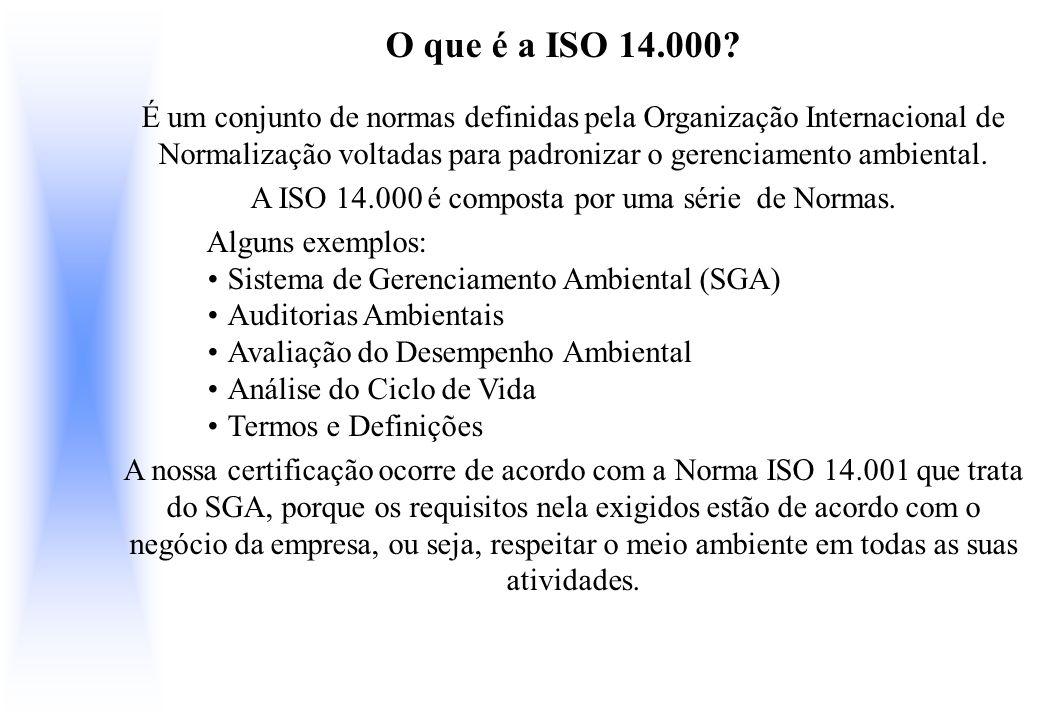 O que é a ISO 14.000? É um conjunto de normas definidas pela Organização Internacional de Normalização voltadas para padronizar o gerenciamento ambien