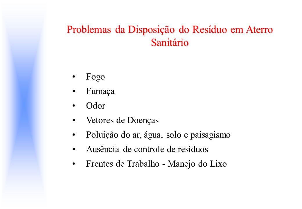 Problemas da Disposição do Resíduo em Aterro Sanitário Fogo Fumaça Odor Vetores de Doenças Poluição do ar, água, solo e paisagismo Ausência de control