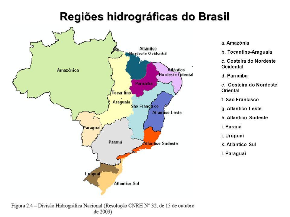 Regiões hidrográficas do Brasil a. Amazônia b. Tocantins-Araguaia c. Costeira do Nordeste Ocidental d. Parnaíba e. Costeira do Nordeste Oriental f. Sã