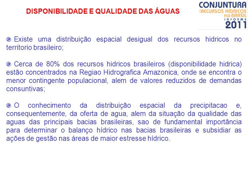 DISPONIBILIDADE E QUALIDADE DAS ÁGUAS Existe uma distribuição espacial desigual dos recursos hidricos no territorio brasileiro; Cerca de 80% dos recur