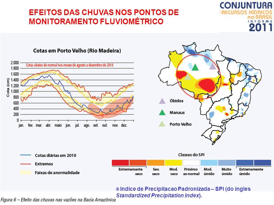 EFEITOS DAS CHUVAS NOS PONTOS DE MONITORAMENTO FLUVIOMÉTRICO Indice de Precipitacao Padronizada – SPI (do ingles Standardized Precipitation Index).