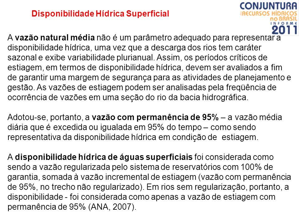 Disponibilidade Hídrica Superficial A vazão natural média não é um parâmetro adequado para representar a disponibilidade hídrica, uma vez que a descar