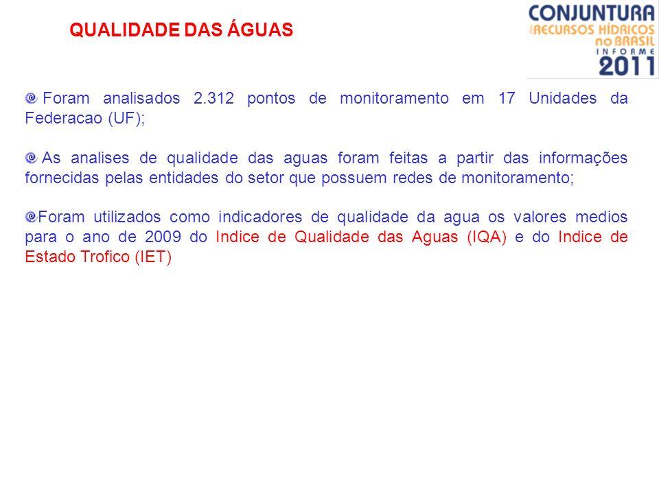 QUALIDADE DAS ÁGUAS Foram analisados 2.312 pontos de monitoramento em 17 Unidades da Federacao (UF); As analises de qualidade das aguas foram feitas a