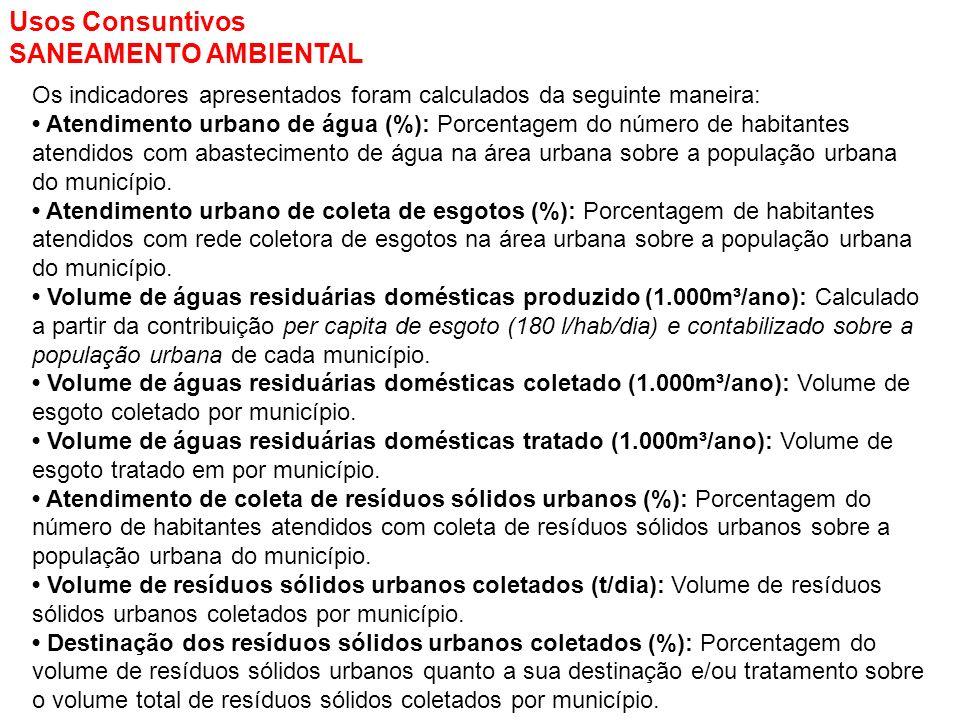 Usos Consuntivos SANEAMENTO AMBIENTAL Os indicadores apresentados foram calculados da seguinte maneira: Atendimento urbano de água (%): Porcentagem do