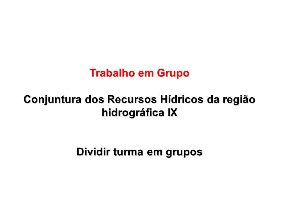 Trabalho em Grupo Conjuntura dos Recursos Hídricos da região hidrográfica IX Dividir turma em grupos