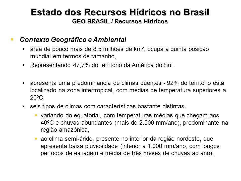 Estado dos Recursos Hídricos no Brasil GEO BRASIL / Recursos Hídricos Contexto Geográfico e Ambiental área de pouco mais de 8,5 milhões de km², ocupa
