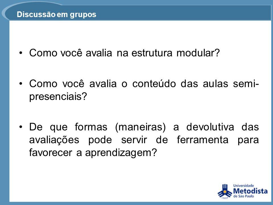 Discussão em grupos Como você avalia na estrutura modular? Como você avalia o conteúdo das aulas semi- presenciais? De que formas (maneiras) a devolut