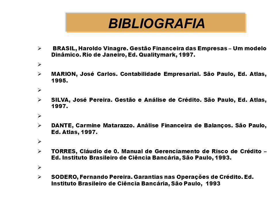 BIBLIOGRAFIA BRASIL, Haroldo Vinagre.Gestão Financeira das Empresas – Um modelo Dinâmico.