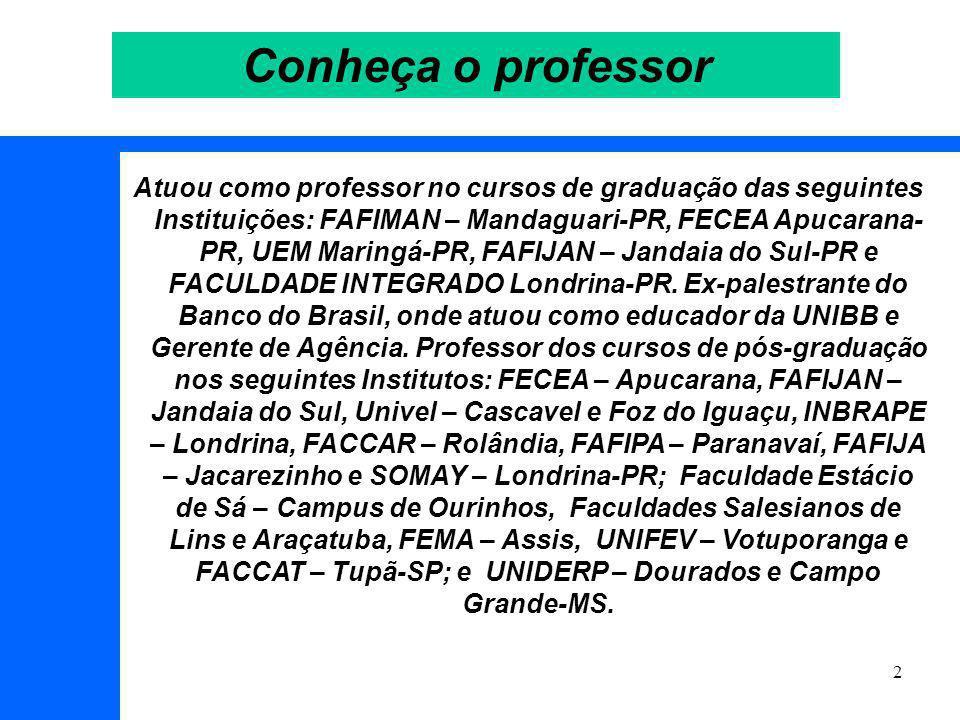 2 Conheça o professor Atuou como professor no cursos de graduação das seguintes Instituições: FAFIMAN – Mandaguari-PR, FECEA Apucarana- PR, UEM Maringá-PR, FAFIJAN – Jandaia do Sul-PR e FACULDADE INTEGRADO Londrina-PR.
