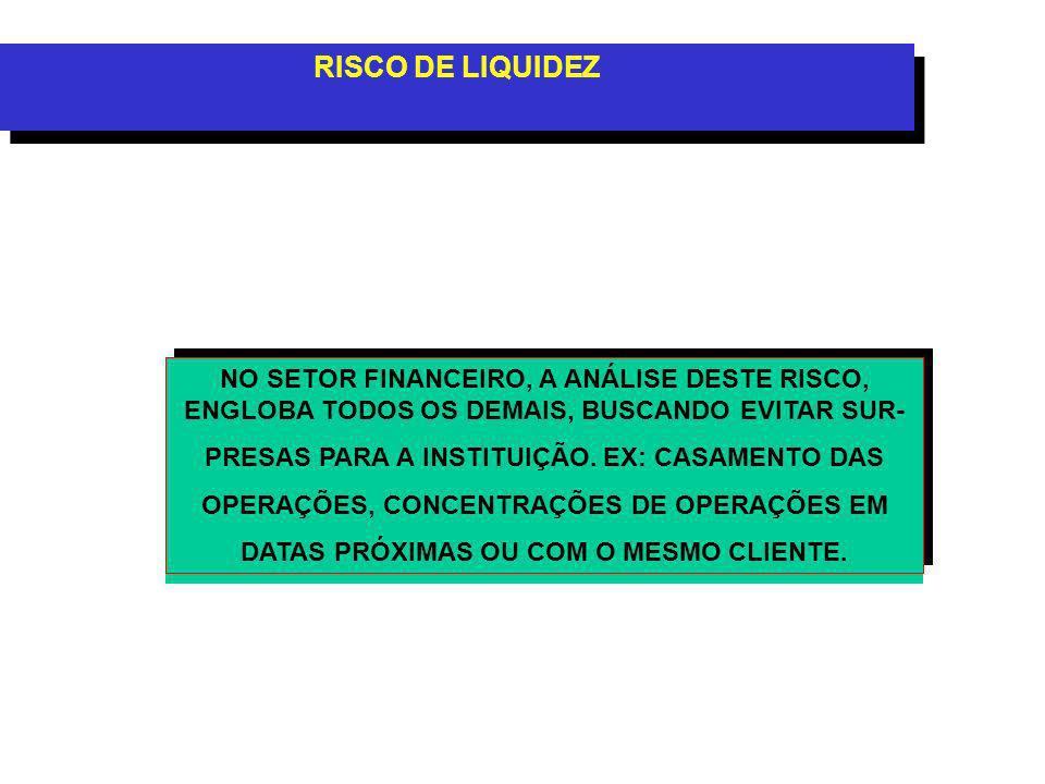 RISCO DE LIQUIDEZ NO SETOR FINANCEIRO, A ANÁLISE DESTE RISCO, ENGLOBA TODOS OS DEMAIS, BUSCANDO EVITAR SUR- PRESAS PARA A INSTITUIÇÃO.