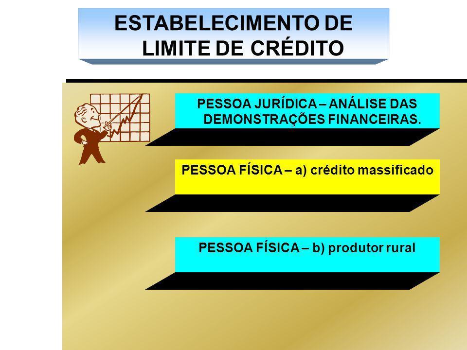 ESTABELECIMENTO DE LIMITE DE CRÉDITO PESSOA JURÍDICA – ANÁLISE DAS DEMONSTRAÇÕES FINANCEIRAS.