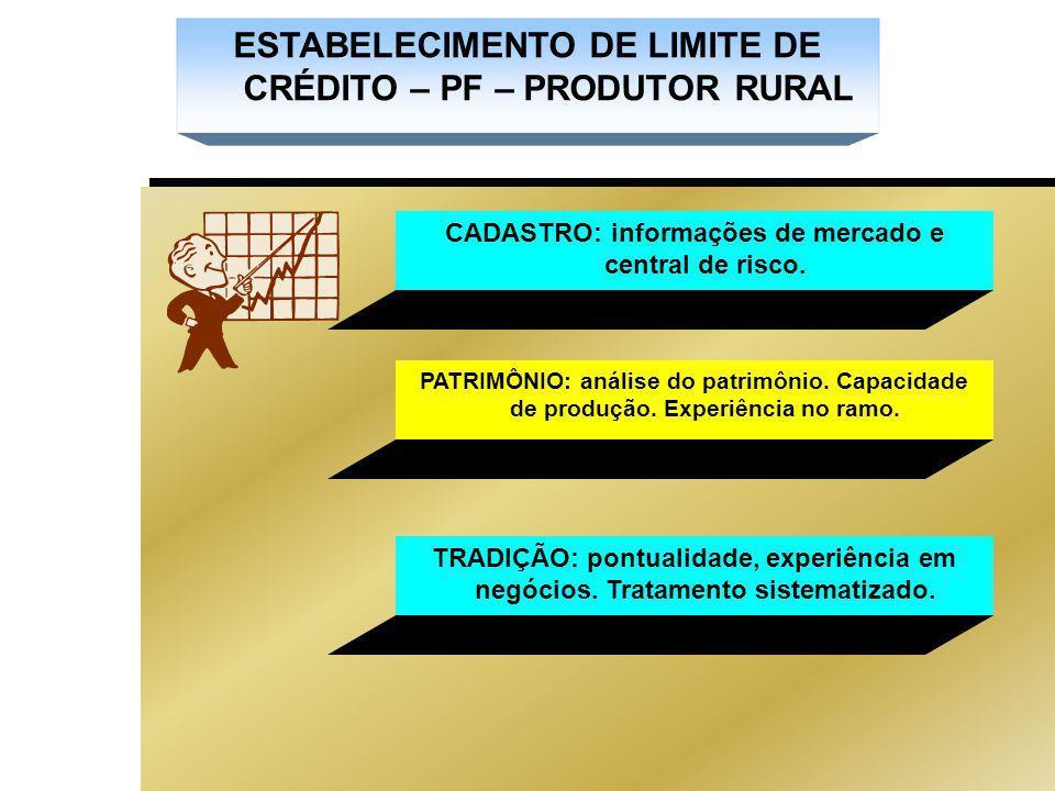 ESTABELECIMENTO DE LIMITE DE CRÉDITO – PF – PRODUTOR RURAL CADASTRO: informações de mercado e central de risco.